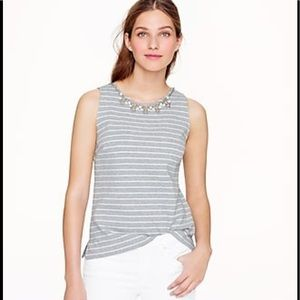Tops - J. Crew Stripe Necklace Shell Jeweled Top
